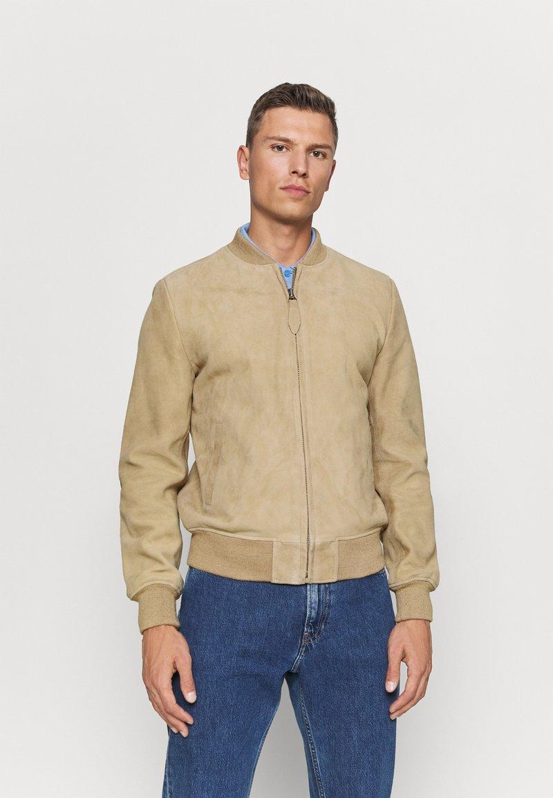 Schott - Leather jacket - beige