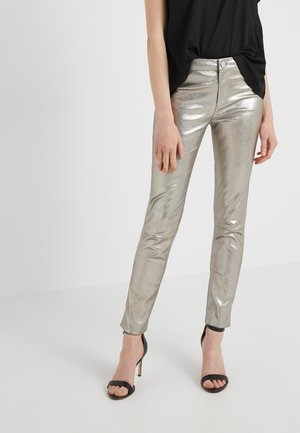RENE - Leather trousers - silver