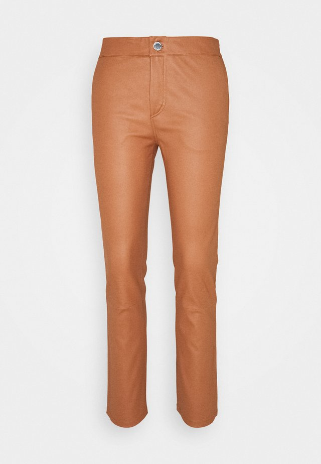 LEYA - Leather trousers - mocha bisque