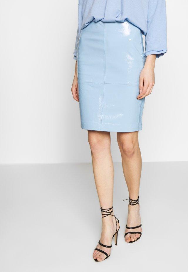 CECILIA - Pencil skirt - patent light blue