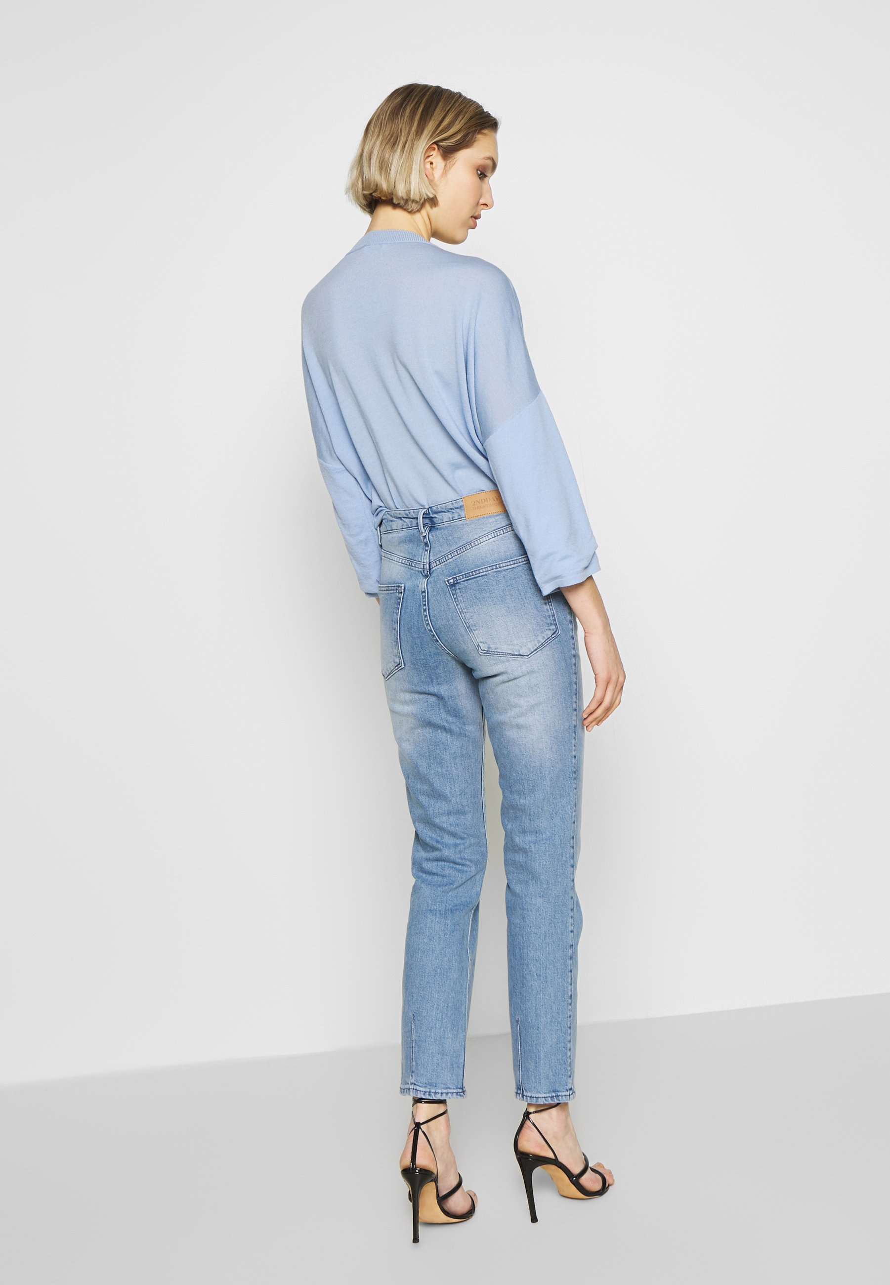 2nd Day RIGGIS SLIT THINKTWICE - Jeansy Straight Leg - light blue