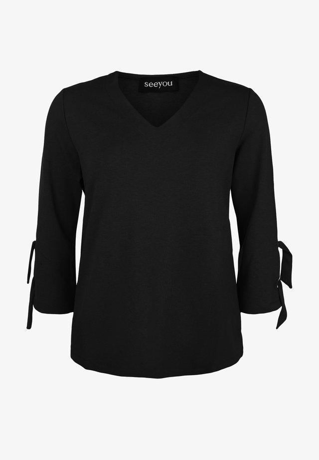 MIT V-AUSSCHNITT - Sweatshirt - schwarz