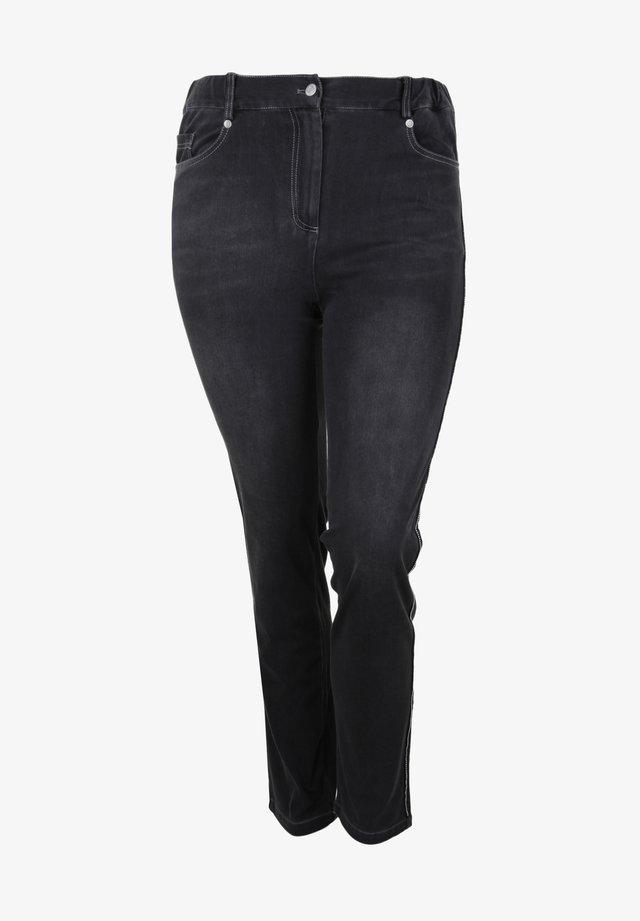 VERZIERTER SEITENNAHT - Slim fit jeans - schwarz