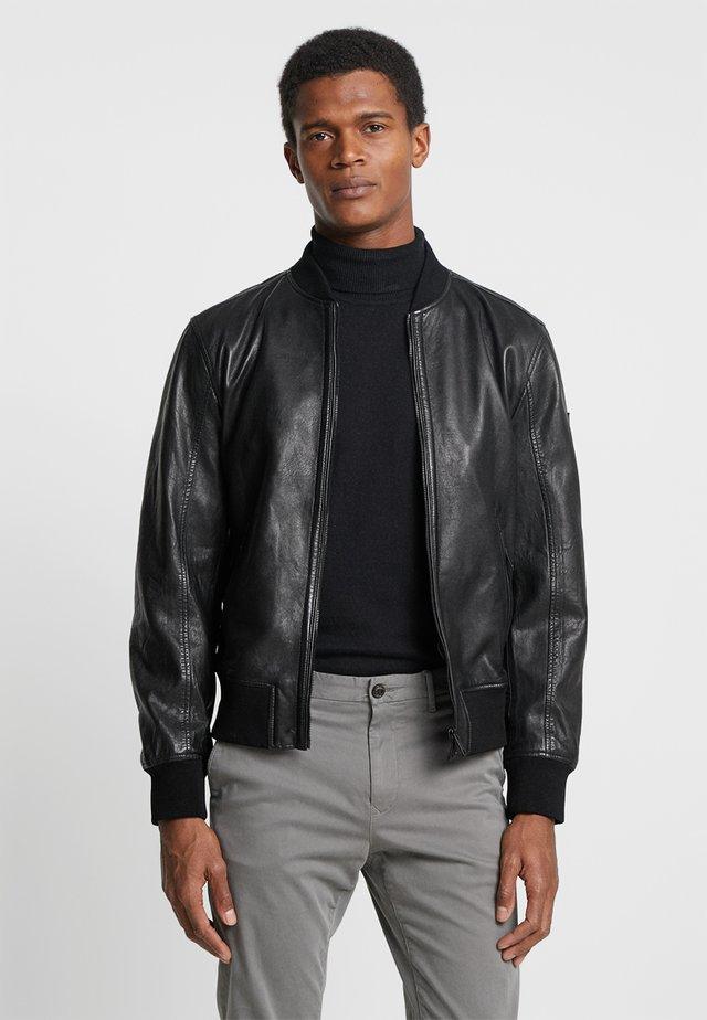 CAMDEN - Kožená bunda - black