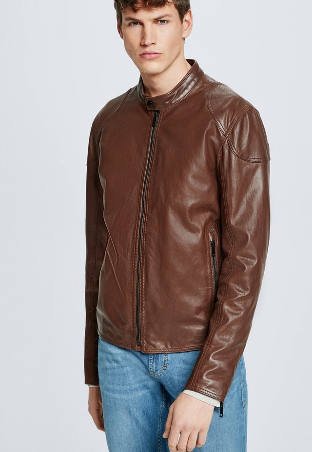 SYDNEY - Leather jacket - braun
