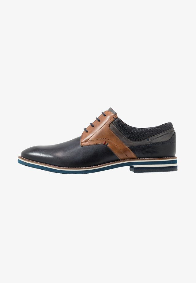 VASCO - Smart lace-ups - navy/cognac/grey