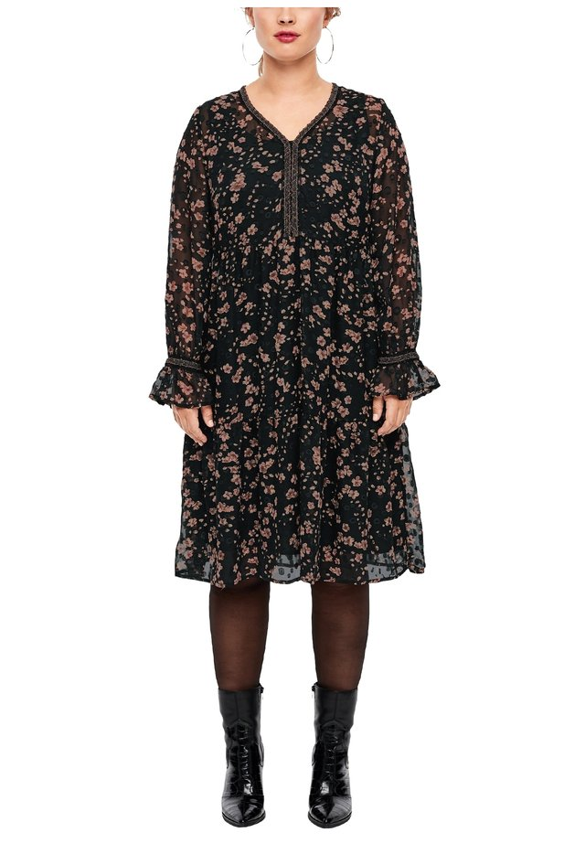 GEBLÜMTES KLEID AUS PLUMETIS-CHIFFON - Korte jurk - black aop flowers