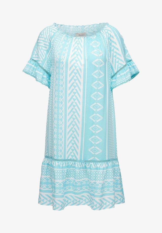 Korte jurk - turquoise aop