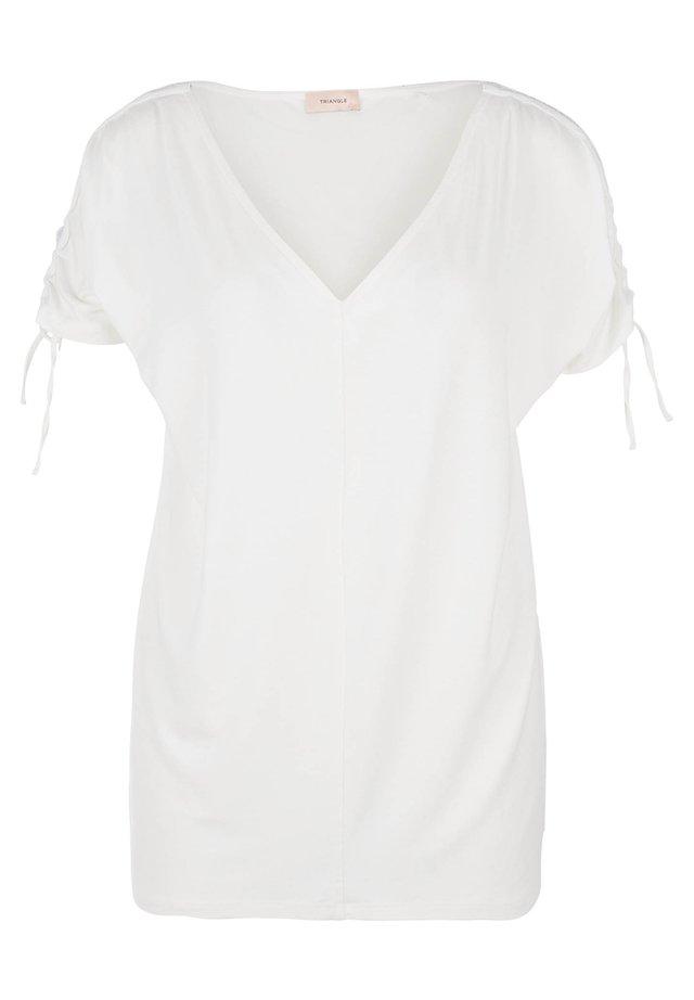 SHIRT MET V-HALS EN GLITTERBANDJE - T-shirt print - cream