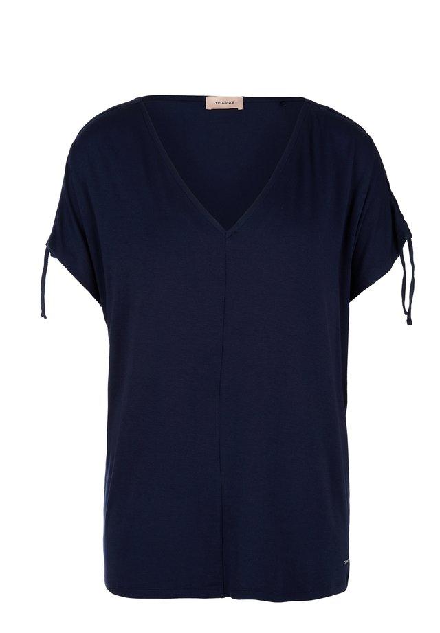 SHIRT MET V-HALS EN GLITTERBANDJE - T-shirt print - navy