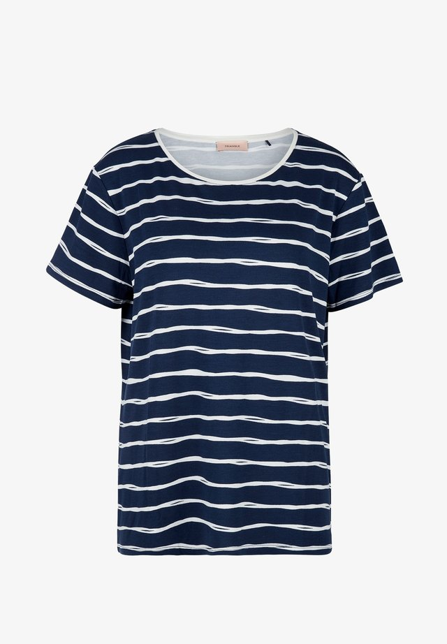 Print T-shirt - dark blue stripes