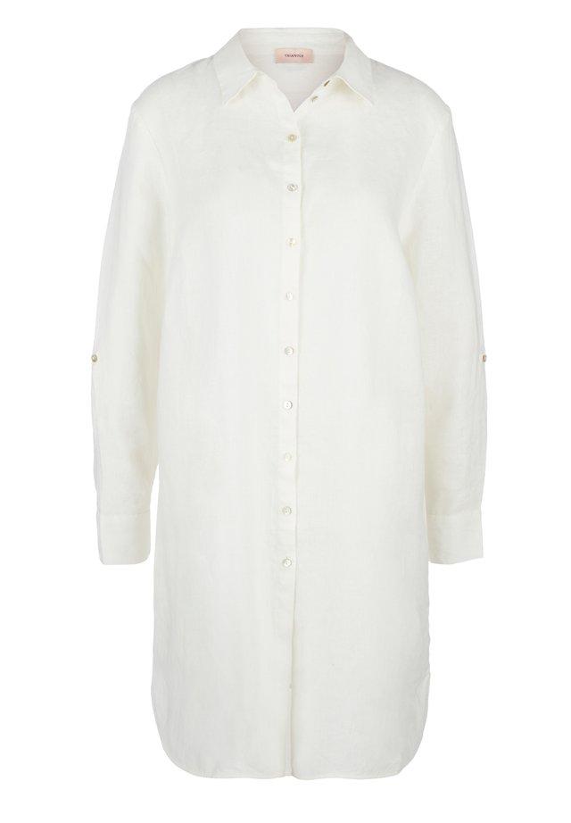 LEINENBLUSE MIT PERLMUTTKNÖPFEN - Button-down blouse - cream