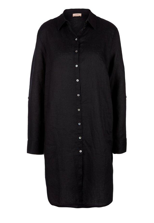 LEINENBLUSE MIT PERLMUTTKNÖPFEN - Button-down blouse - black
