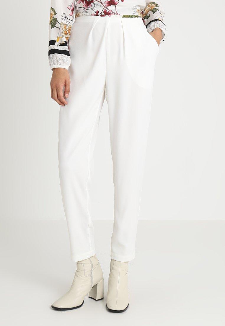 Stefanel - PANTALONE DETTAGLI PIEGHE - Spodnie materiałowe - off white