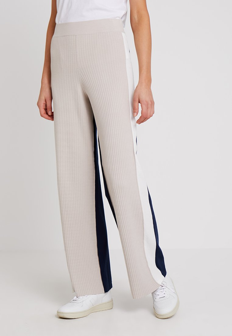 Stefanel - PANTALONE COLOR BLOCK - Spodnie materiałowe - base grey