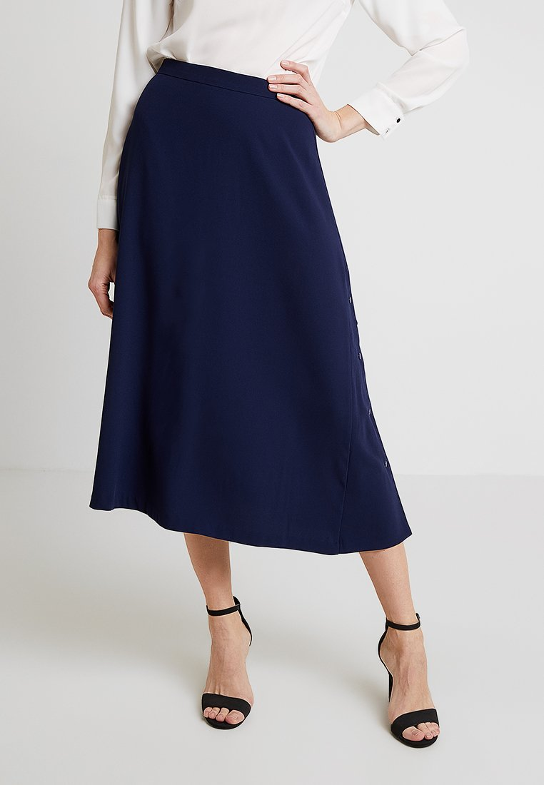 Stefanel - GONNA CON BOTTONI - A-line skirt - blue