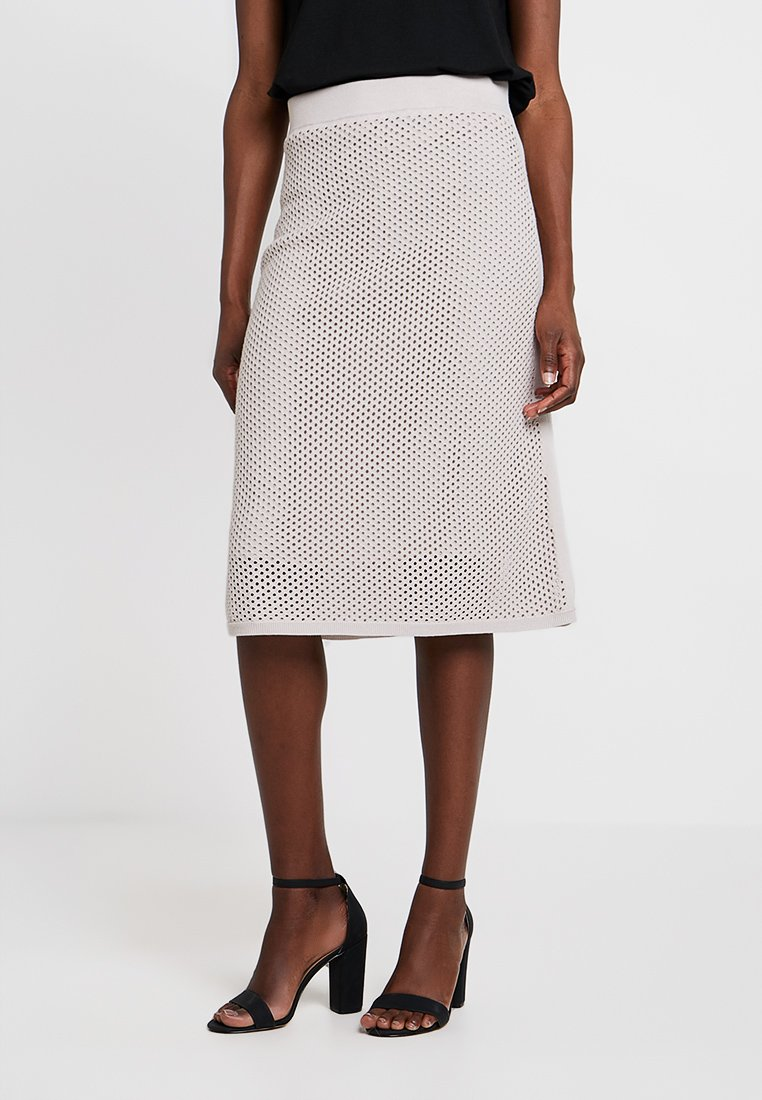 Stefanel - GONNA IN MAGLIA PUNTO RETE - A-line skirt - grey