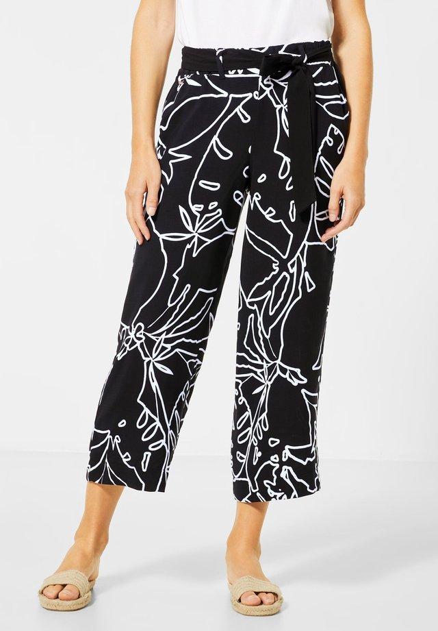WIDE LEG HOSE MIT MUSTER - Trousers - schwarz