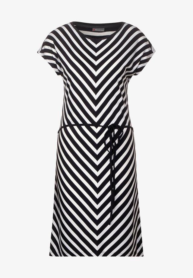 JERSEY KLEID MIT STREIFEN - Day dress - schwarz