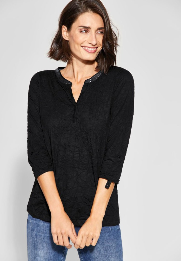 Street One - MIT PAILLETTEN - Bluse - black