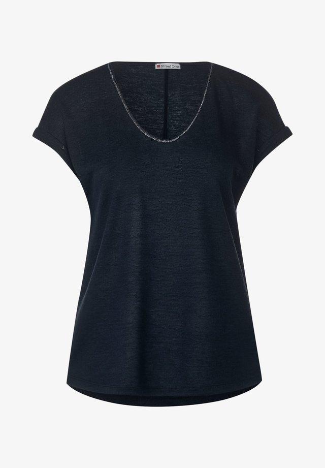 T-SHIRT IN LEINEN-OPTIK - T-Shirt basic - blau