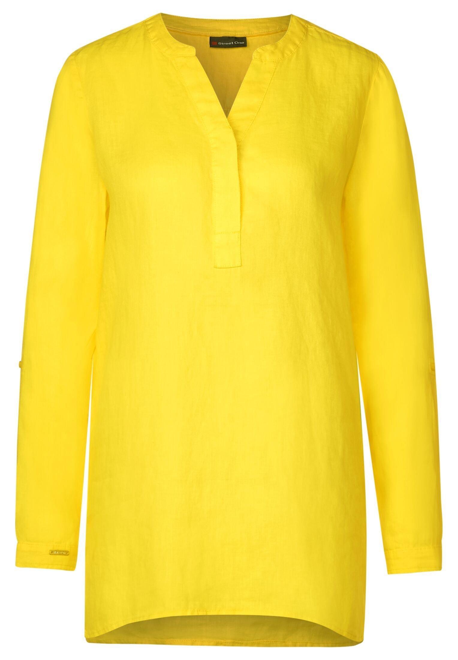 Polo-Shirt in Unifarbe in Mango Yellow CECIL