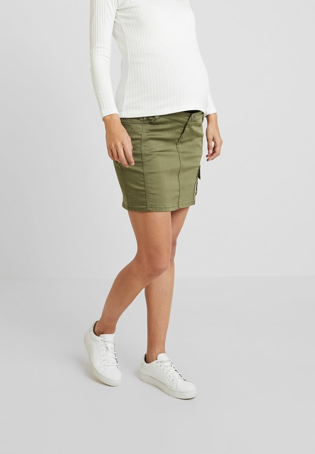 Denim skirt - burnt olive