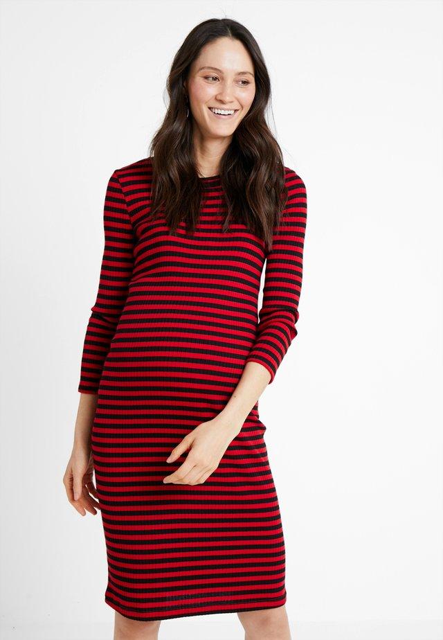 DRESS STRIPE - Jerseykleid - tango red