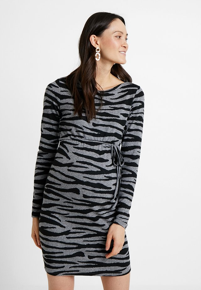 DRESS ZEBRA - Jersey dress - black