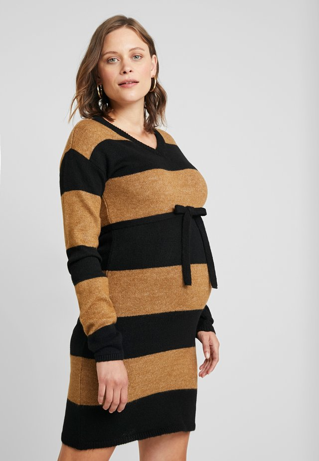 DRESS BLOCK STRIPE - Shift dress - black