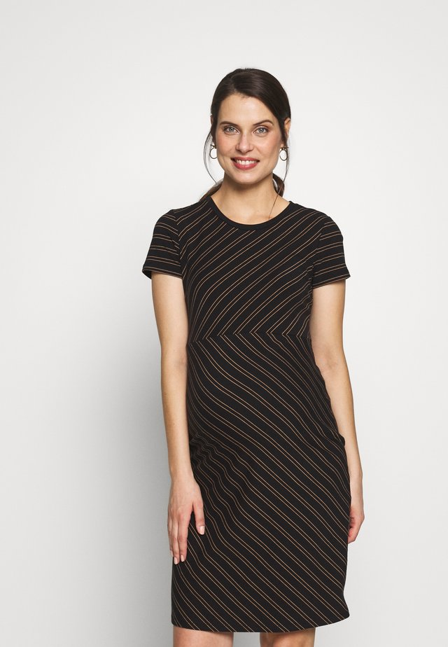 DRESS DUO STRIPE - Žerzejové šaty - black