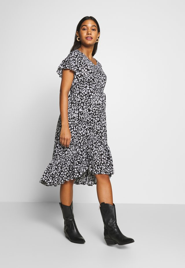 DRESS LEOPARD - Korte jurk - black