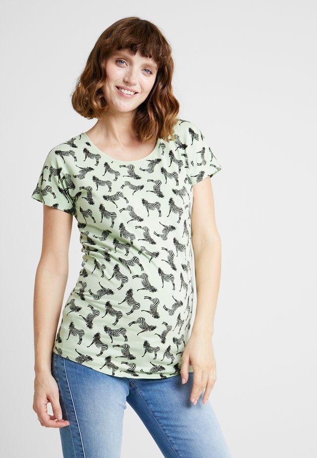 TEE ZEBRA - T-shirt z nadrukiem - smoke green
