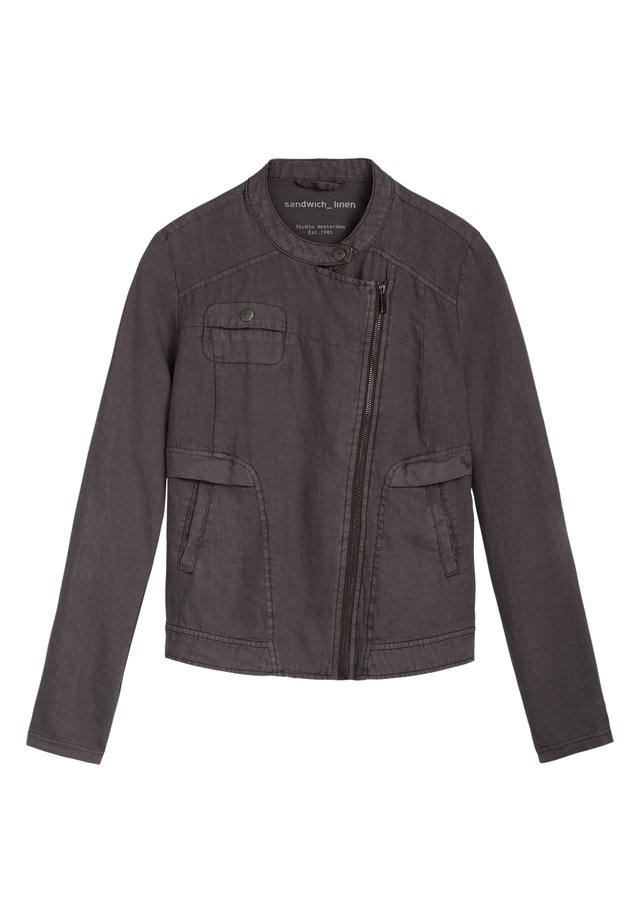 Faux leather jacket - anthrazit