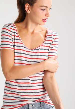 NOBEL TEE STRIPE - Print T-shirt - red/blue
