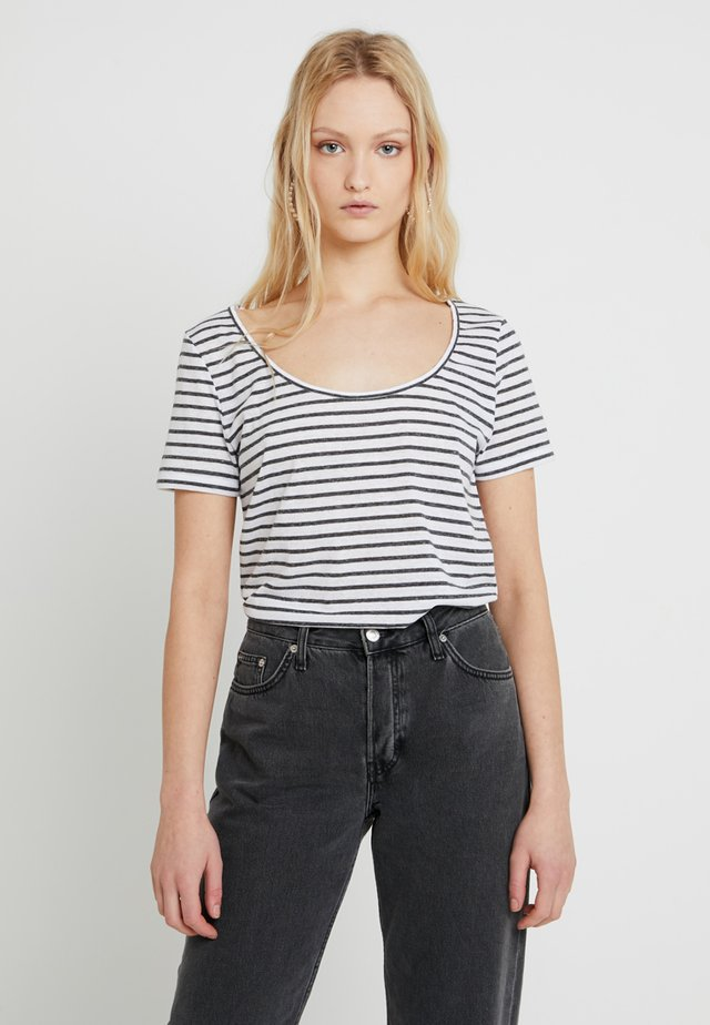 NOBEL TEE STRIPE - T-Shirt print - white/blue