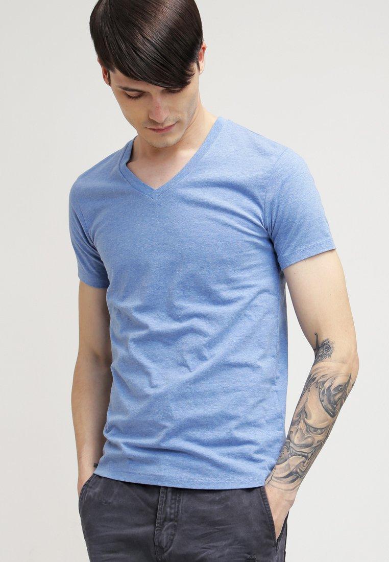 Samsøe Samsøe - MARIAN V-NECK - Basic T-shirt - retro blue melange
