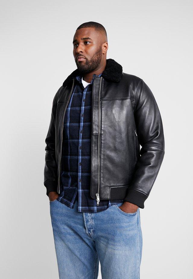 LEE JACKET - Leather jacket - black