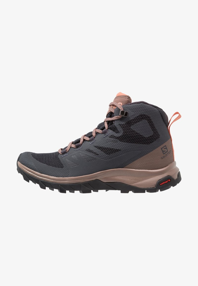 Salomon - OUTLINE MID GTX - Vaelluskengät - ebony/deep taupe/tawny orange