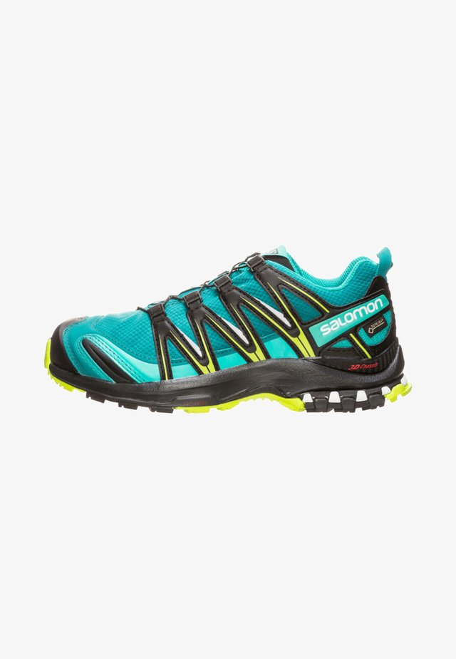 Trail running shoes - deep lake/black/lime green