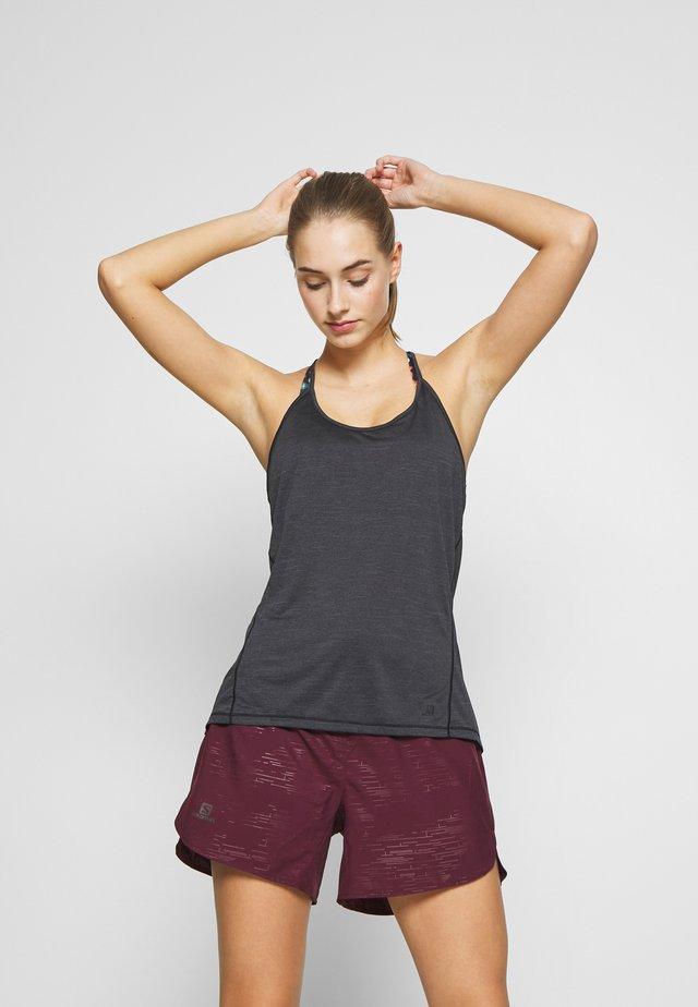 COMET FLOW TANK - T-shirt sportiva - black/ebony/heather