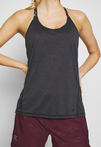 Salomon - COMET FLOW TANK - Sports shirt - black/ebony/heather - 4