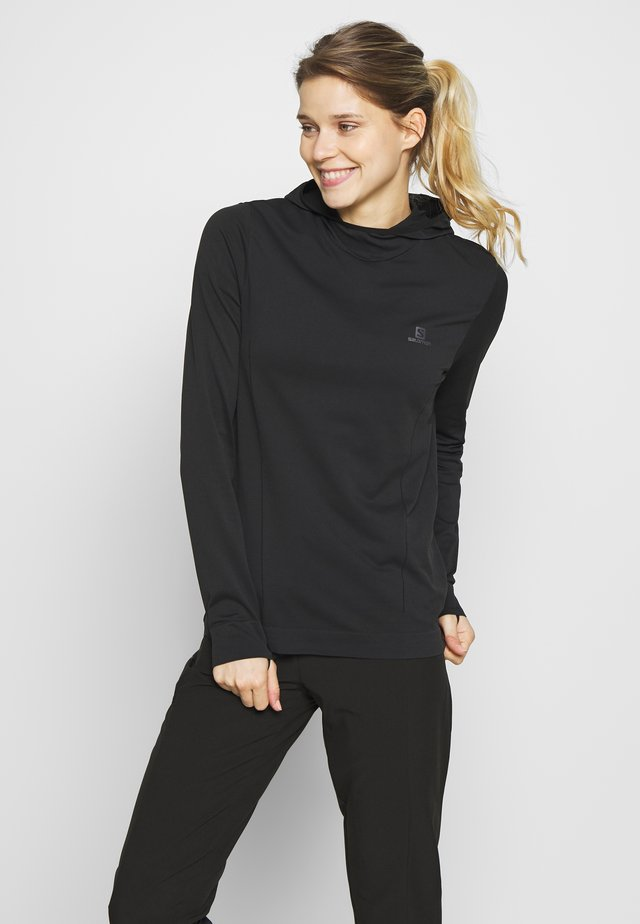 AGILE MID HOODIE - Long sleeved top - black
