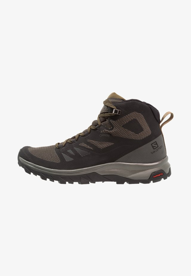 OUTLINE MID GTX - Hiking shoes - black/beluga/capers
