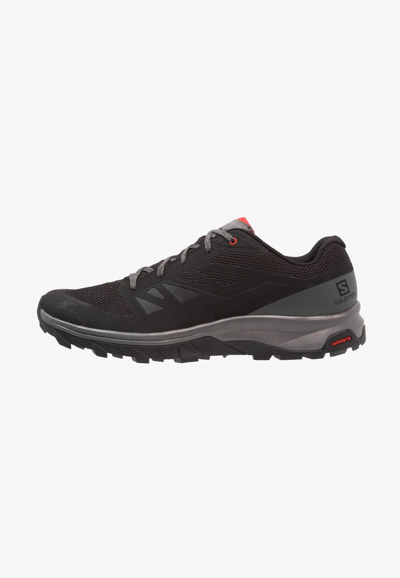 Salomon - OUTLINE - Hiking shoes - black/quiet shade/high risk red