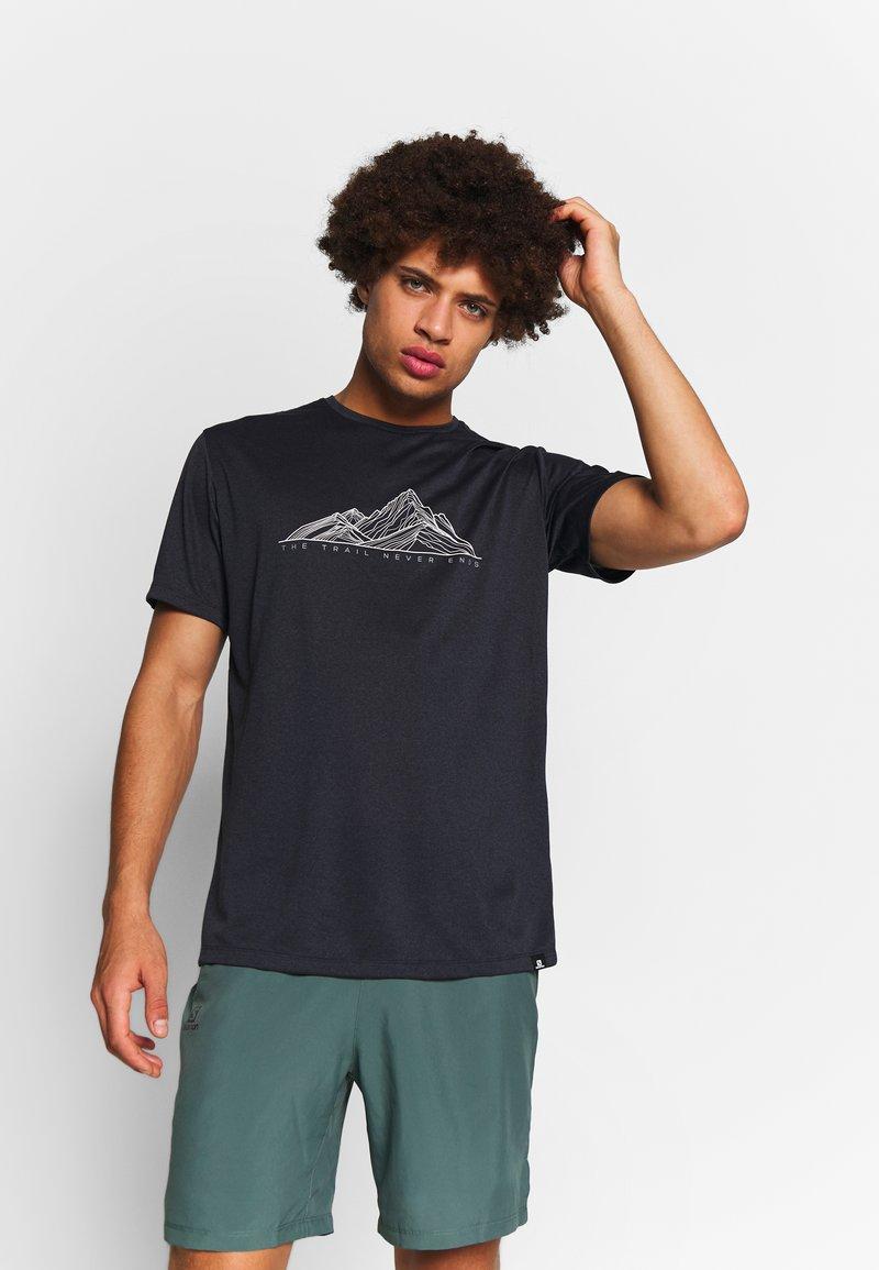 Salomon - AGILE GRAPHIC TEE  - T-shirt med print - black/heather