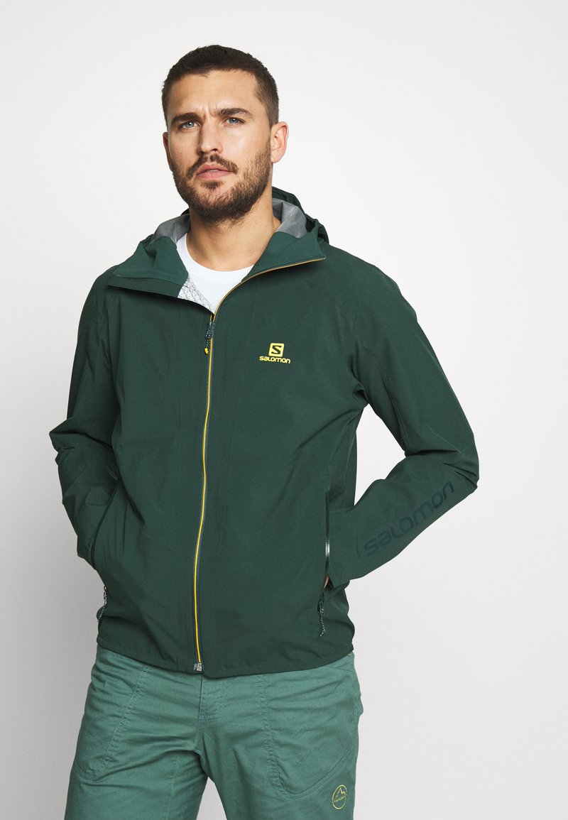 Salomon - OUTLINE - Hardshell jacket - green gables/lemon curry