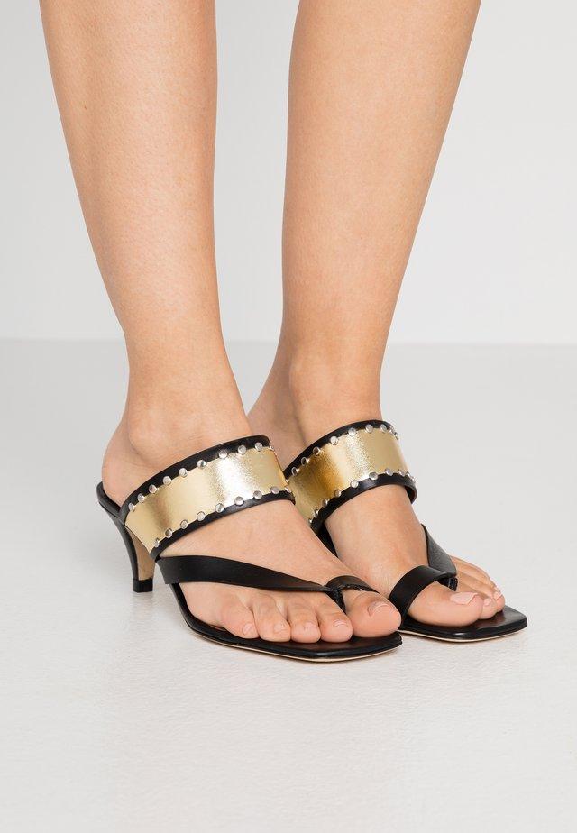 Sandaler m/ tåsplit - doré/noir