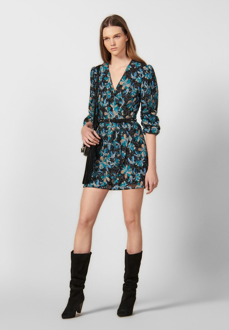 sandro - BLEEN - Cocktail dress / Party dress - black/turquoise