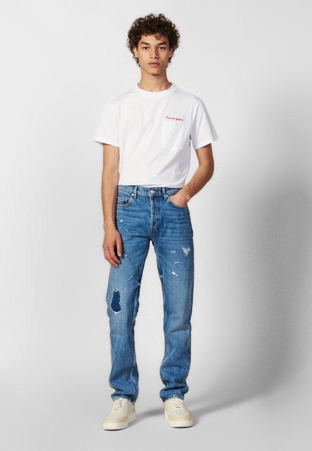 WASHED DESTROY - Slim fit jeans - blue vintage denim